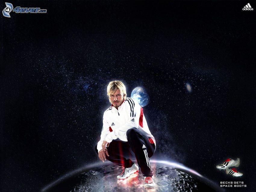 David Beckham, måne, universum, fotboll, fotbollsskor, Adidas