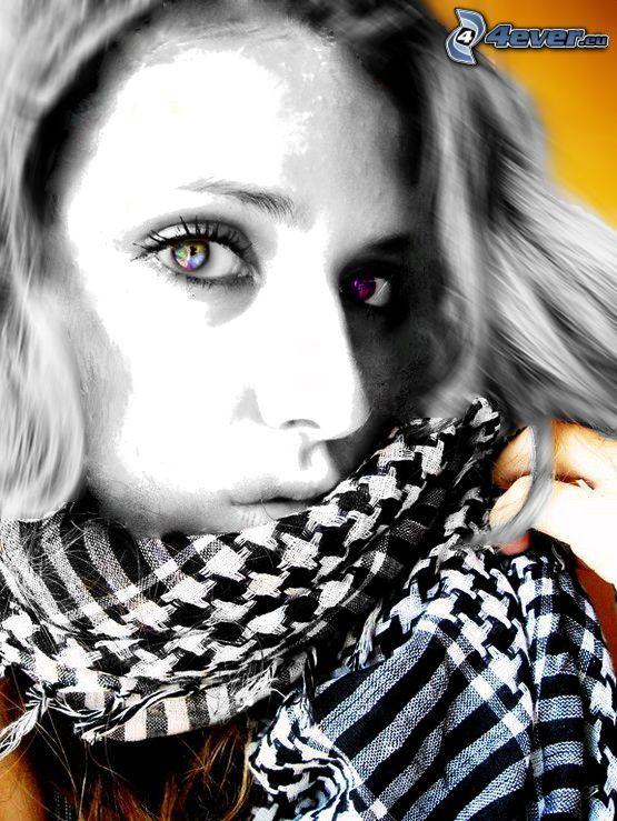 färggrannt ansikte, halsduk