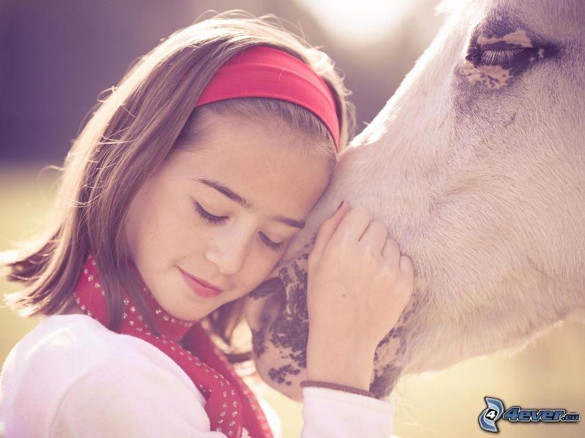 flicka, häst