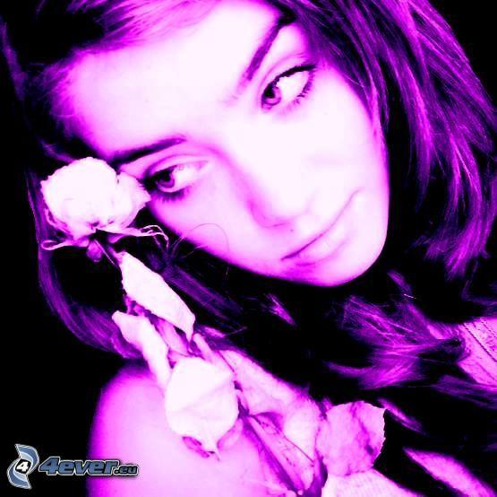 flicka med ros
