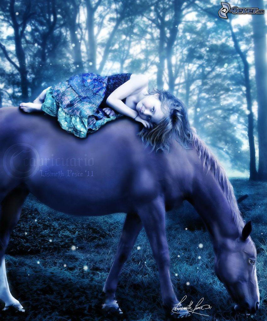 flicka till häst, skog