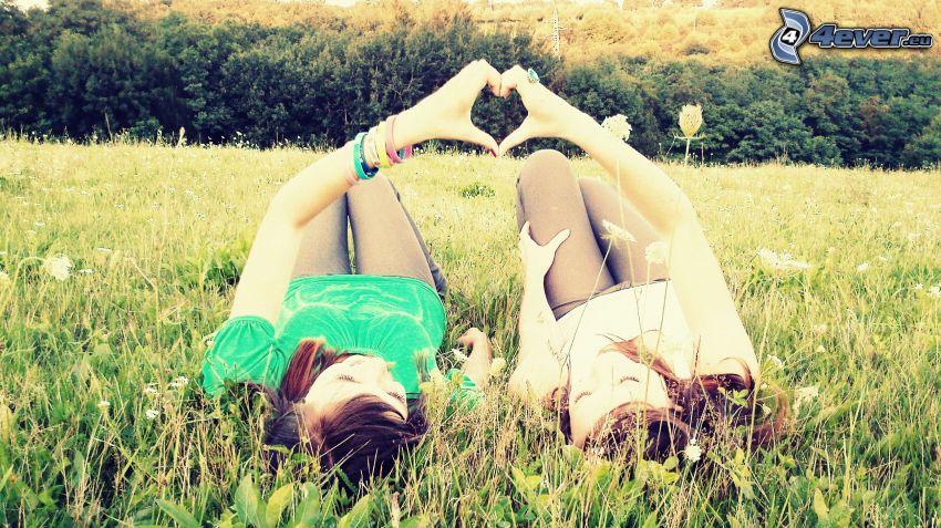 flickor på äng, hjärta, skog
