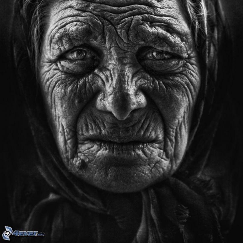 gammal kvinna, mormor, rynkor