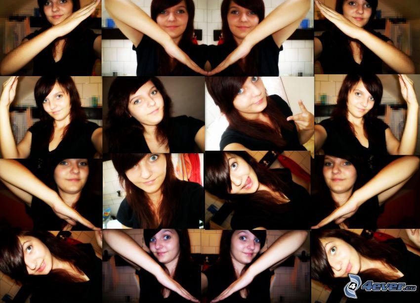 hjärta av händer, collage, foton, tjej, selfie