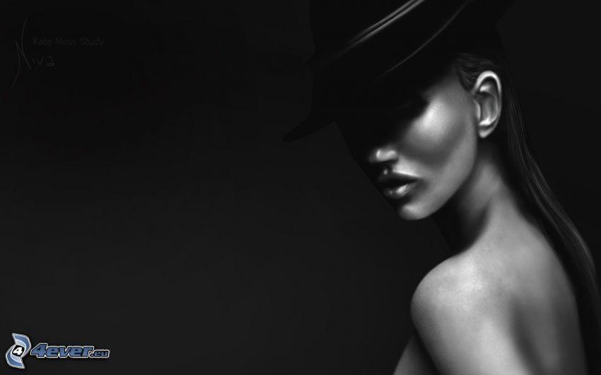 Kate Moss, kvinna i hatt, svartvitt foto