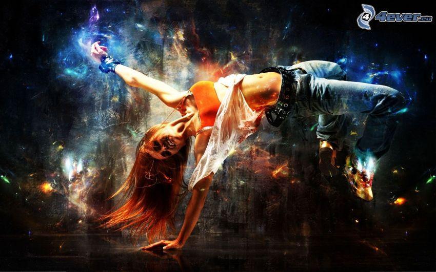 kvinna, akrobatik