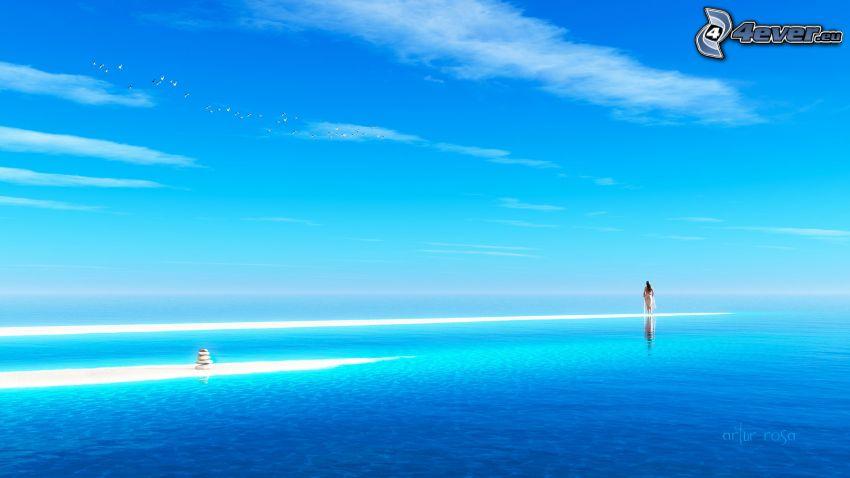 kvinna, azurblå hav
