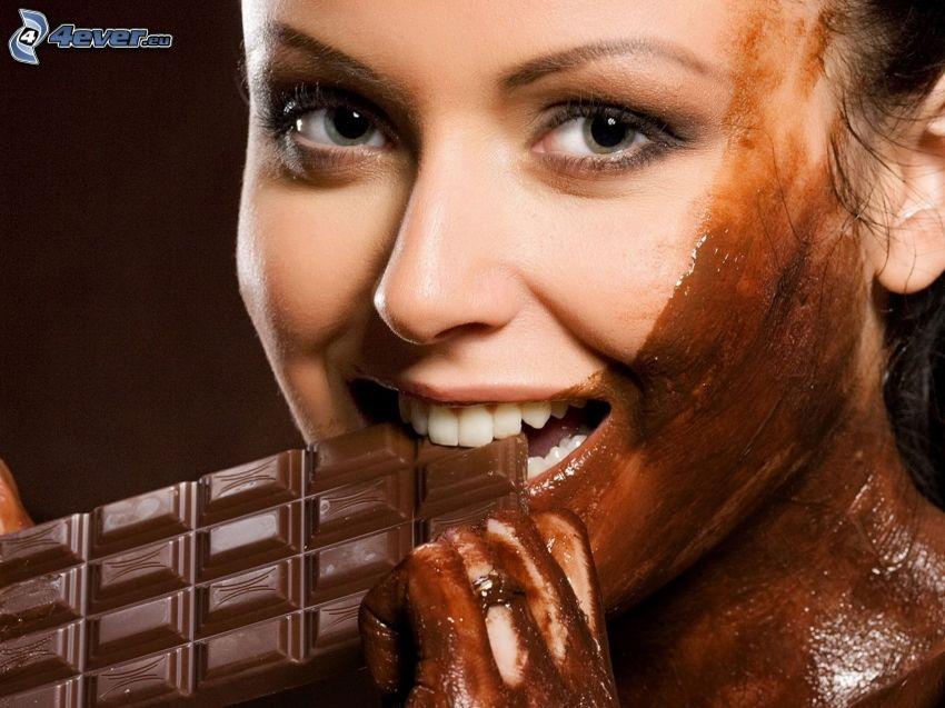 kvinna, choklad