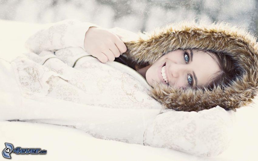 kvinna, snö