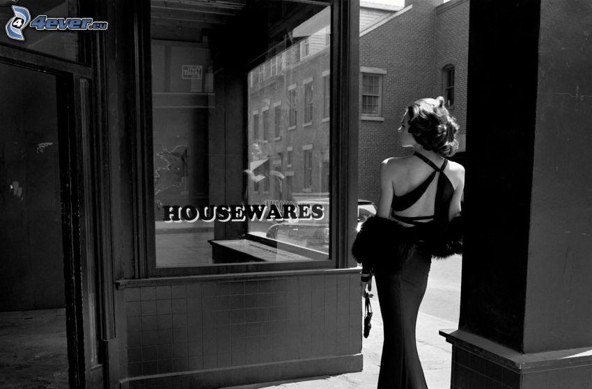 kvinna, svartvitt foto