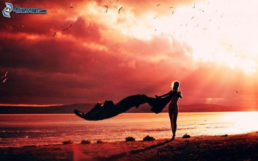 kvinna på strand, sol