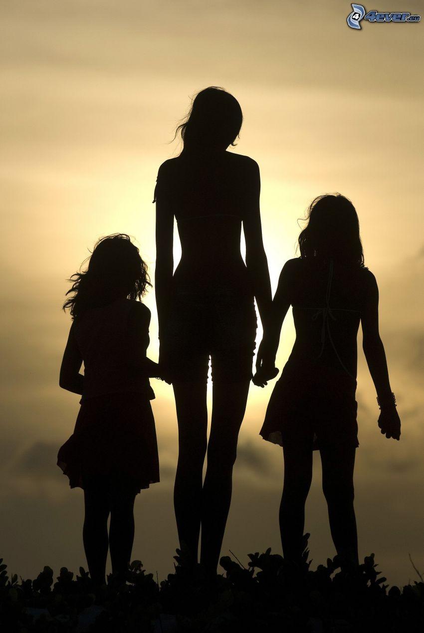 kvinnosilhuett vid solnedgång, flickor, slank kvinna, solnedgång