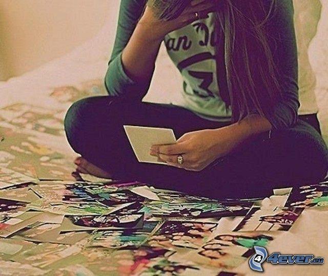 ledsen flicka, minnen, foton