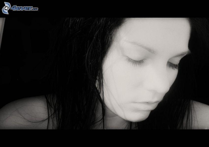 ledsen flicka, sorg, svart hår