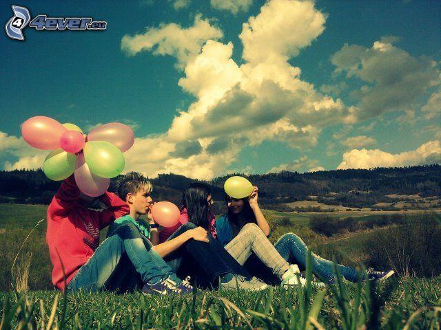 människor, ballonger, kullar, himmel, moln