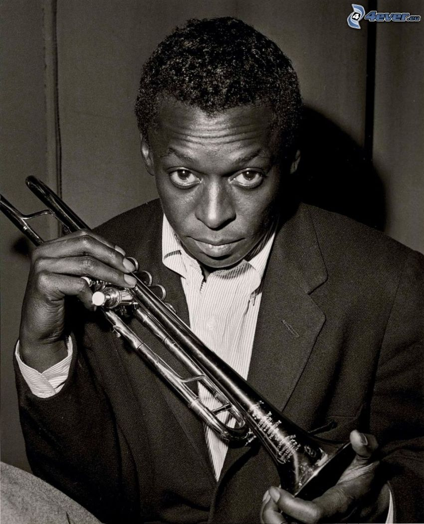 Miles Davis, trumpet, svartvitt foto