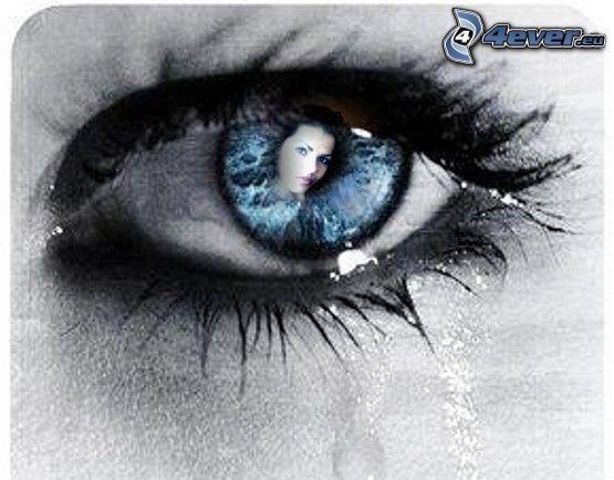öga, ansikte, gråt