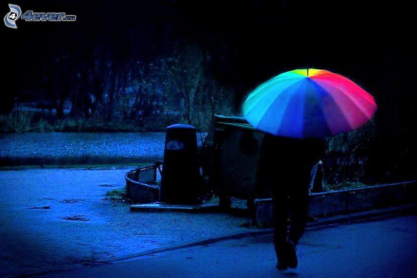 paraply, regnbågsfärger, park