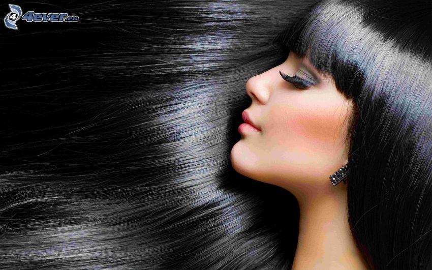 svarthårig kvinna, långt hår