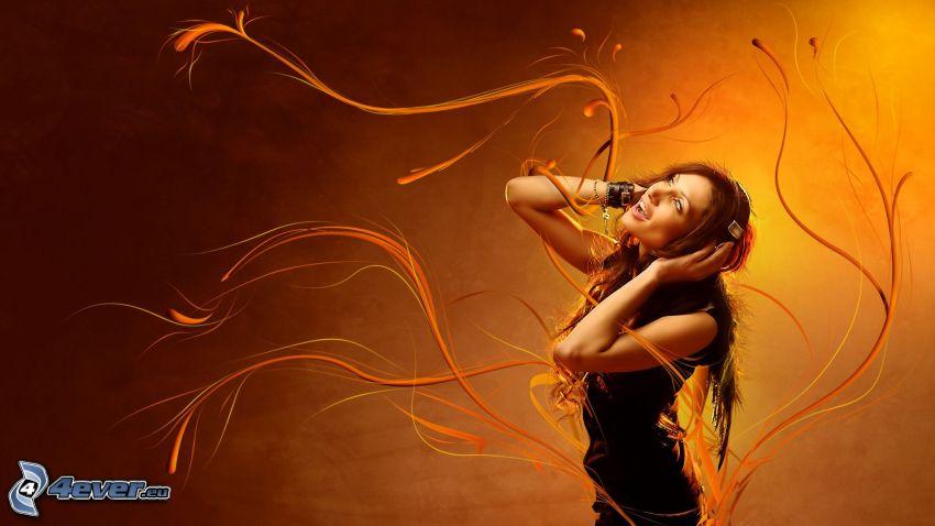 tjej med hörlurar, orangea linjer