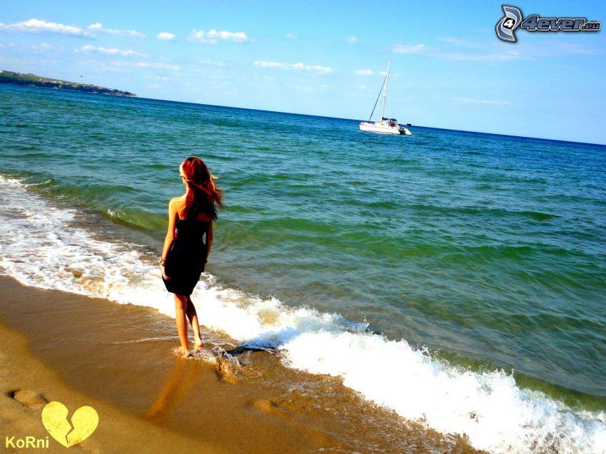 tjej på strand, kust, hav, yacht
