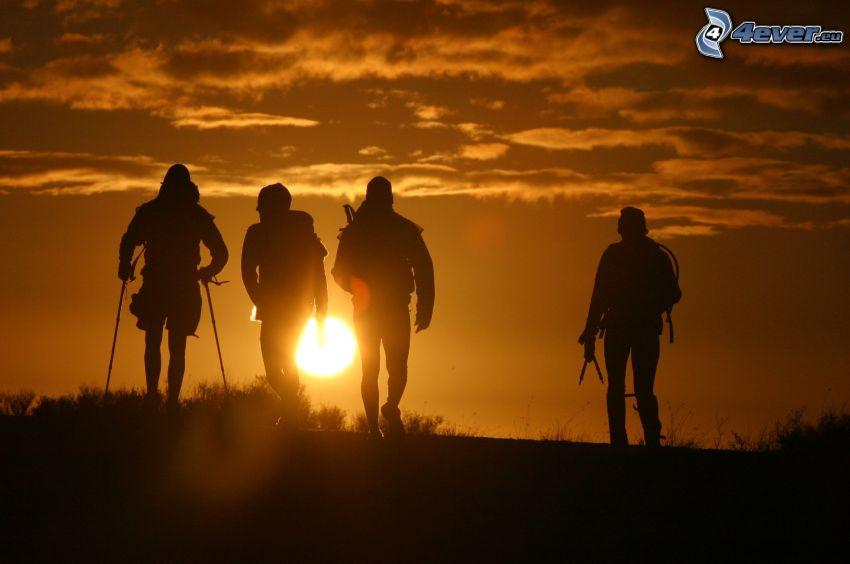 turister, silhuetter av människor, orange solnedgång, äventyr, Tasmanien