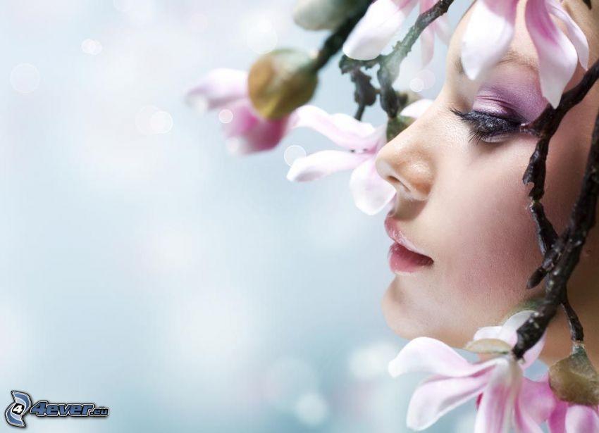 kvinna, blommande kvist