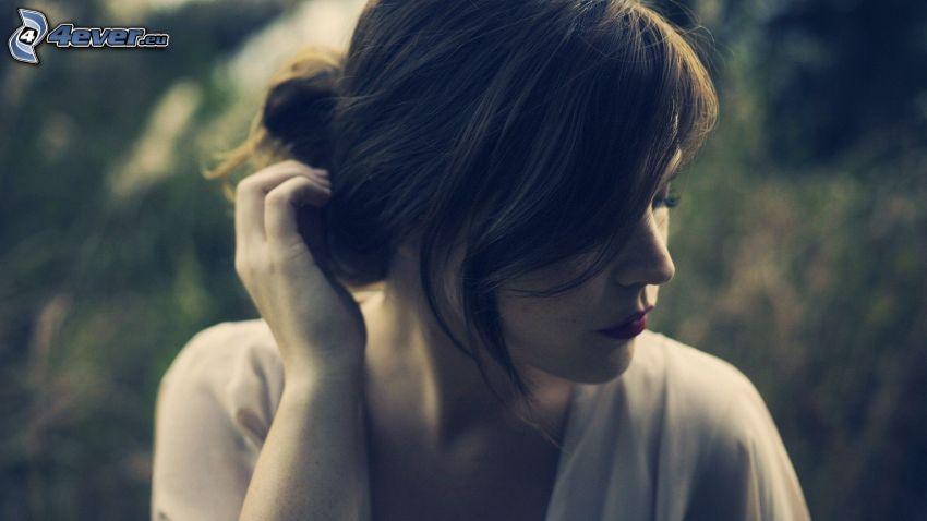 kvinna, brunett