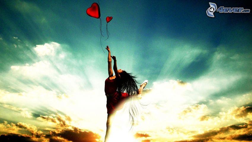 kvinna, hjärtan, moln