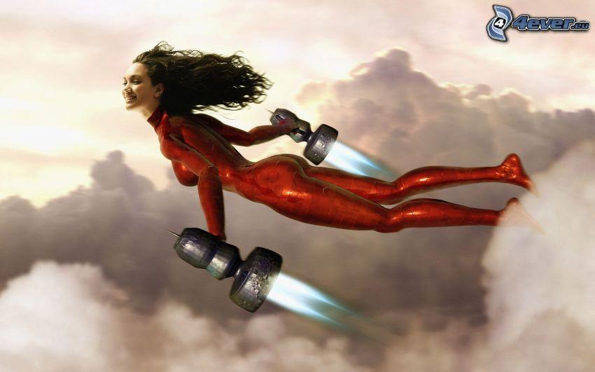 kvinna, jetmotorer, flyg, ovanför molnen