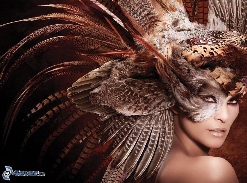 kvinna, mask, fjädrar