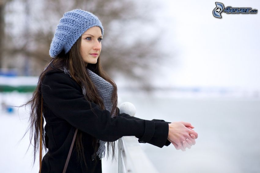 kvinna, mössa, klot, snö