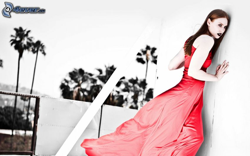 kvinna, röd klänning