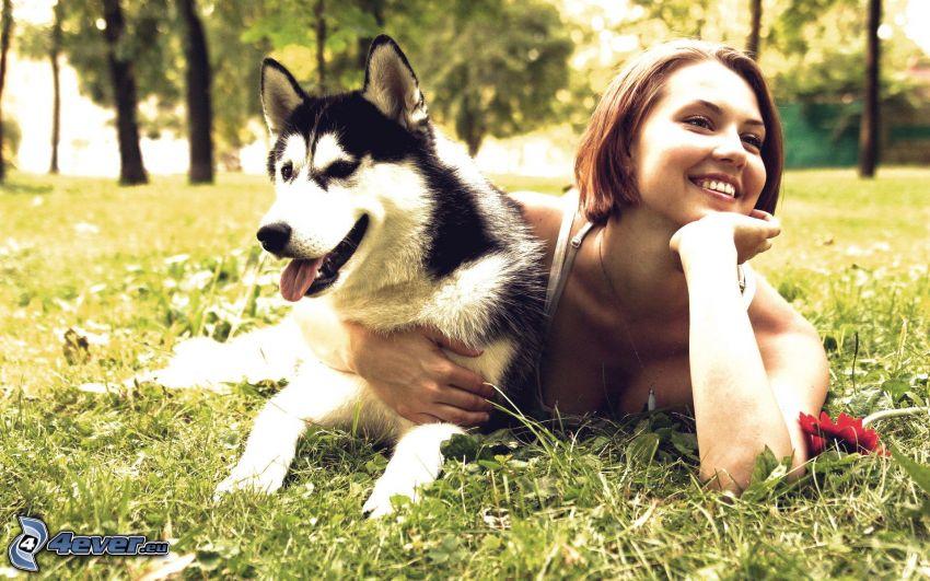 kvinna, Siberian Husky, gräs