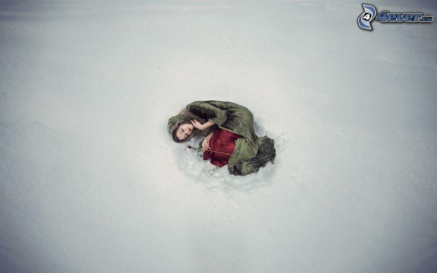 kvinna, sömn, snö