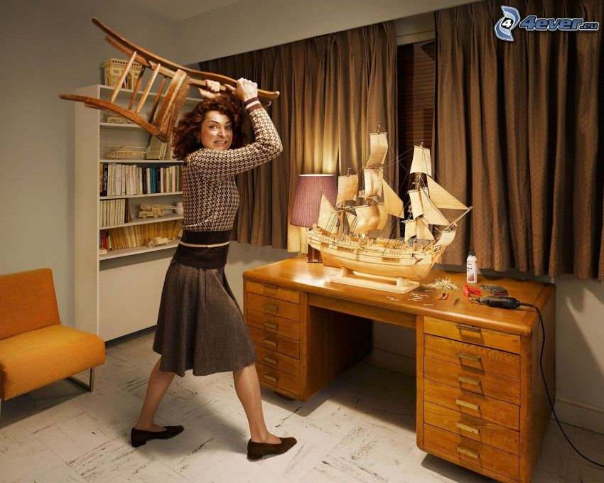 kvinna, stol, segelbåt
