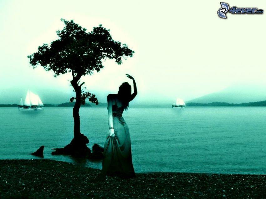 kvinna, träd, sjö, segelbåtar