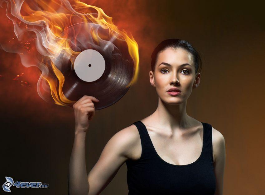 kvinna med eld, LP-skiva