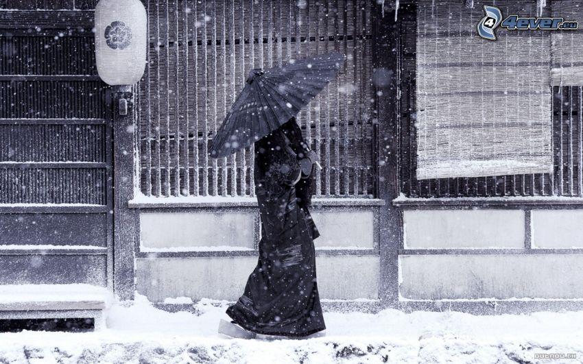 kvinna med paraply, Japan, snö