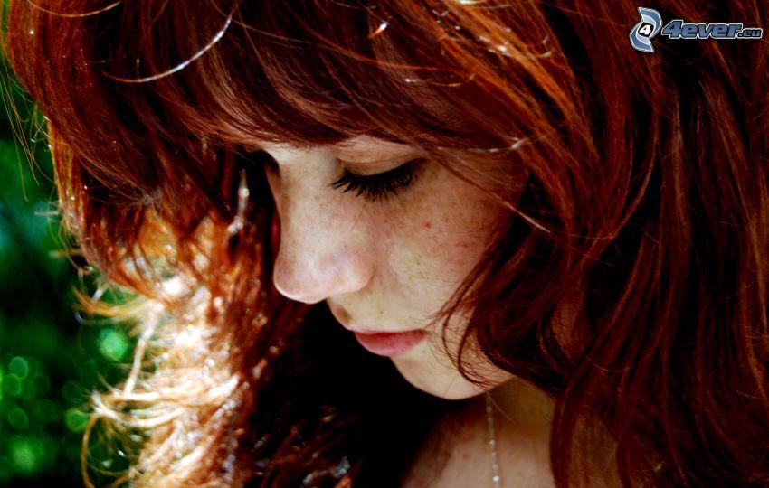 ledsen flicka, rödhårig