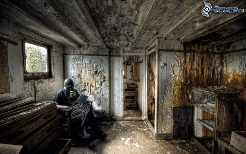 man, gasmask, gammalt hus, HDR