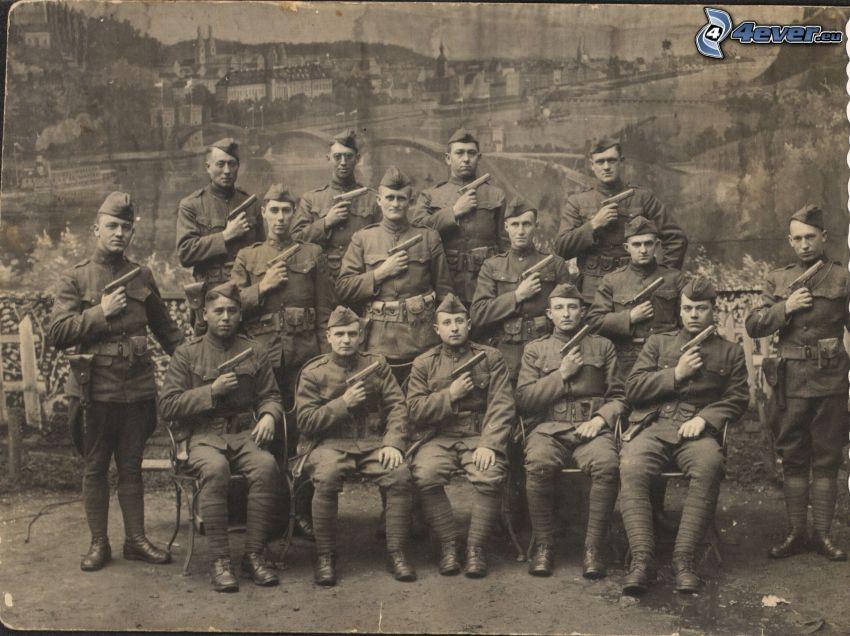 militärer, gammalt foto