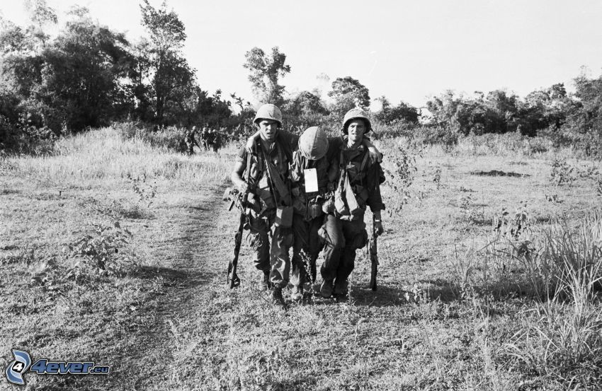 militärer, skada, svartvitt foto
