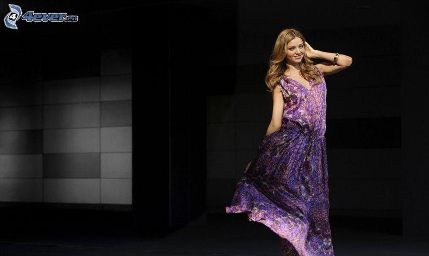 Miranda Kerr, modell, lila klänning