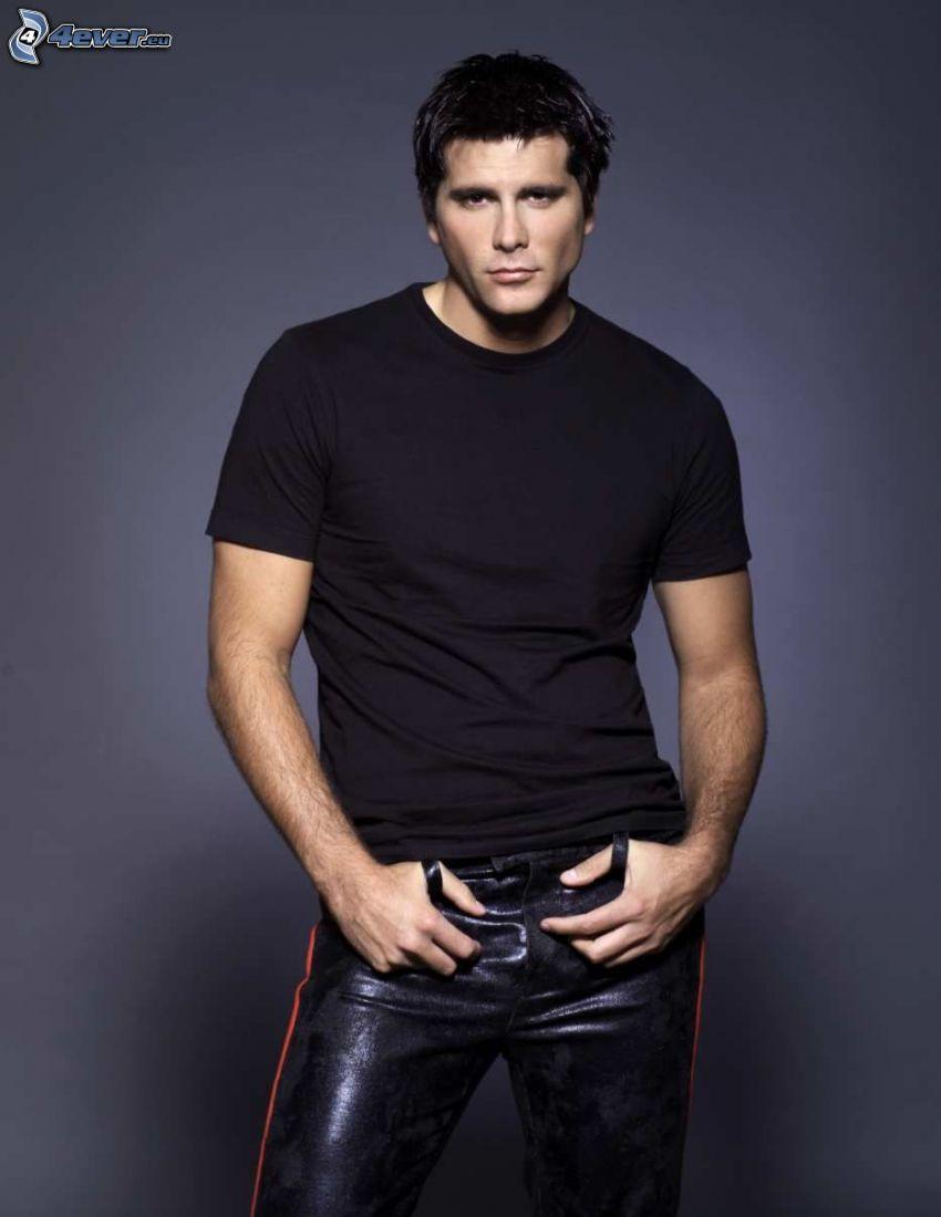 modell, kille, läder, svart