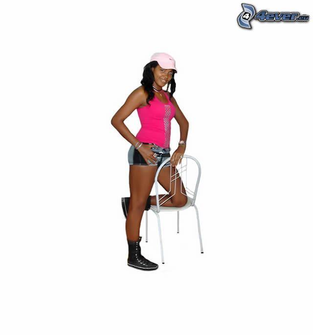 mörkhyad kvinna, keps, stol
