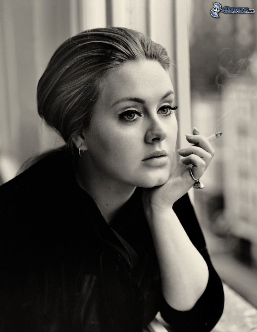 Adele, rökning, flicka med cigarett, svartvitt foto