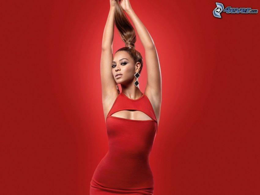 Beyoncé Knowles, röd klänning, röd bakgrund