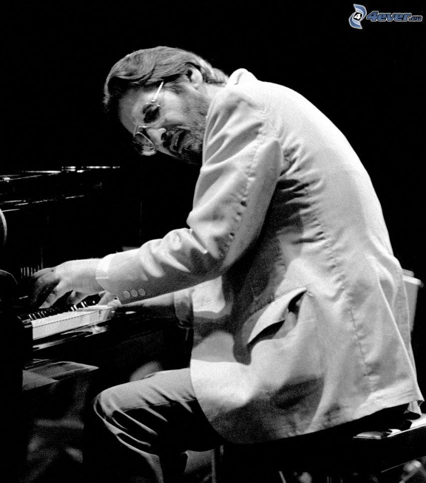 Bill Evans, pianist, pianospel, svartvitt foto