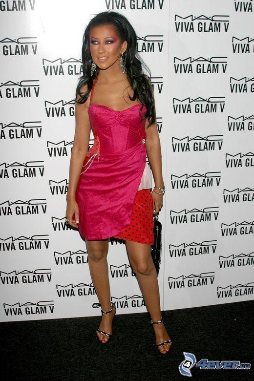 Christina Aguilera, röd klänning, sångerska